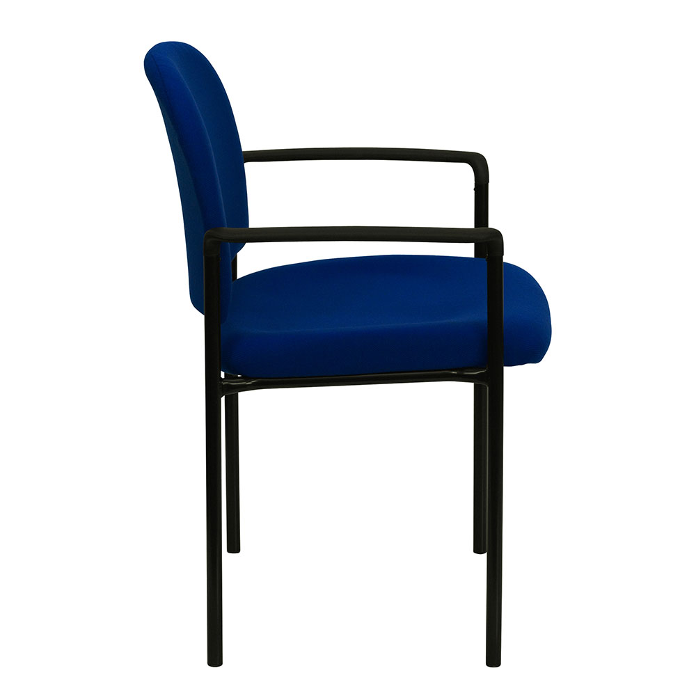 Navy Fabric Comfortable Stackable Steel Side Chair With Arms