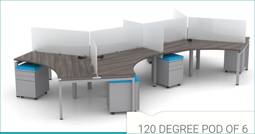 Fixed Height: 1x Pod of 6 (120) Degree Workstations with Spacer.