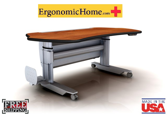 "Ergonomic Home Adjustable PACS Radiology Stand Up Desk #MT5-SL-E-L2. Dim: 67"" x 38""."