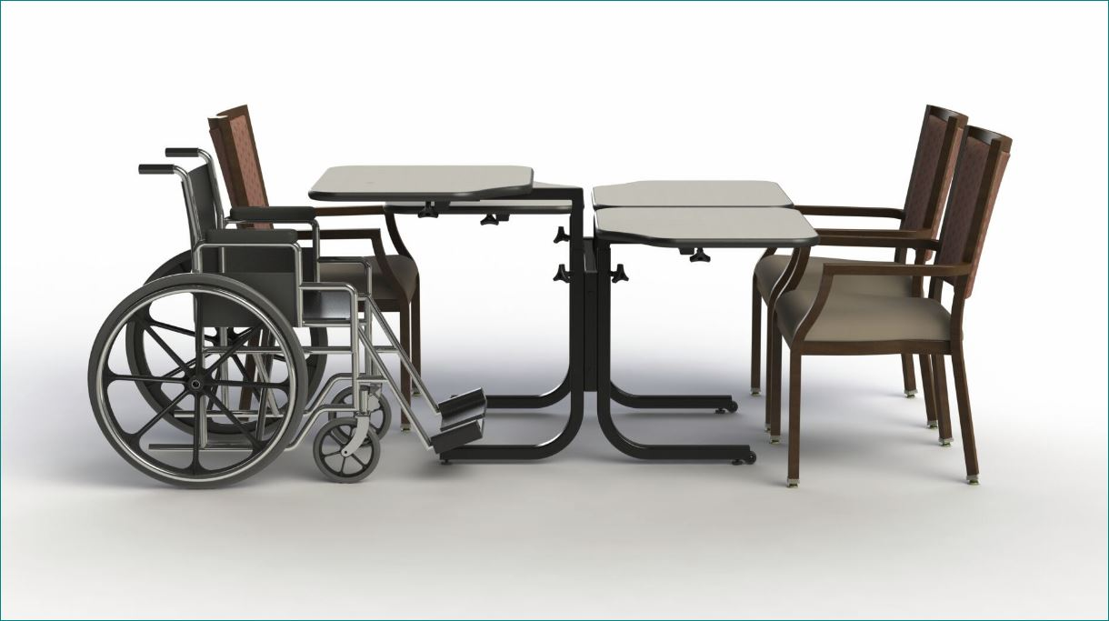 Wheelchair Accessible Adjustable Height Dining Table Four