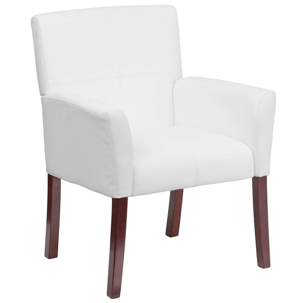 White Leather Executive Side Chair or Reception Chair with Mahogany Legs