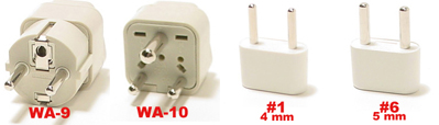 Greece Plug Adapters  Wa-9, Wa-10, #1, & #6
