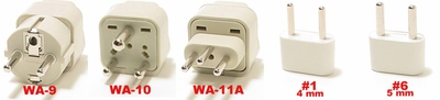 Switzerland Plug Adapters   Wa-9,Wa-10, Wa-11A,  #1, & #6