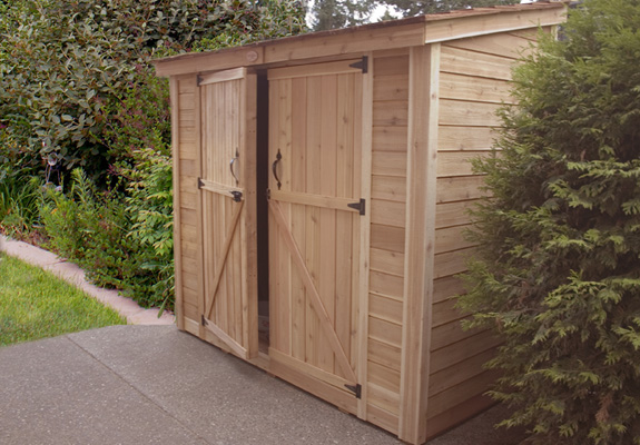 x 4 SpaceSaver Lean to Style Cedar Storage Shed with Double Doors