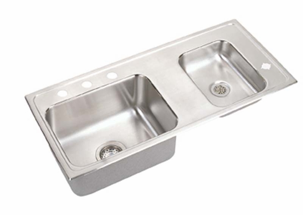 Elkay Classroom Double Bowl Drop In Self Rimming Stainless