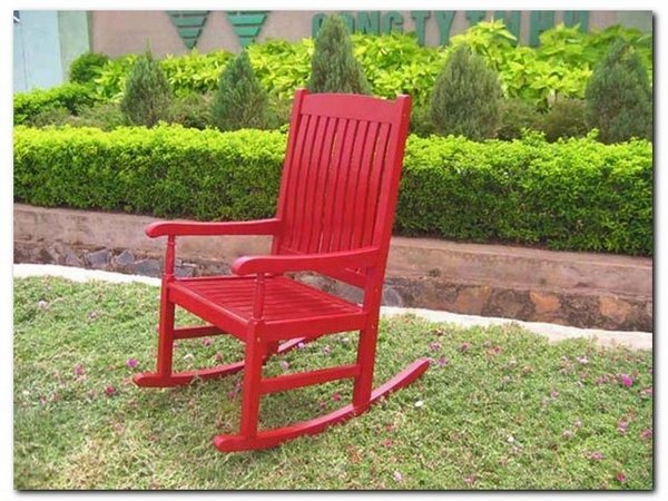 K D Red Finish Porch Rocking Chair VF4108 RD