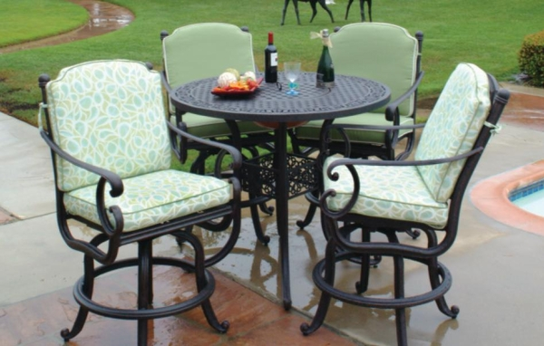 meadow decor athena  piece aluminum bar height patio set with fire pit table : bar height patio chair
