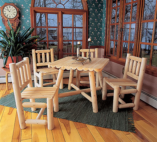 Dining Room Sets Rustic: Rustic Natural Cedar Square Dining Room Set