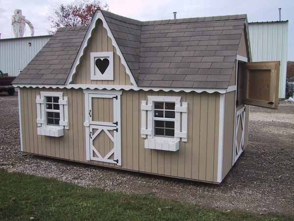 Victorian Backyard Floored Playhouse : Victorian Wooden Outdoor Playhouse Kit with Floor  8 x 12  8x12w VP