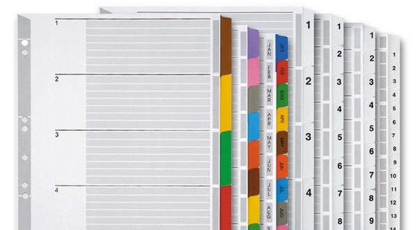 A4 Numeric Monthly And Blank Colored Index Tabs