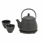 Black Bamboo Basket Cast Iron Tea Set