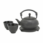 Black Plum Blossom Cast Iron Set