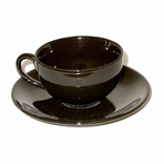 Black Teacup with Saucer