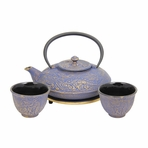 Blue with Gold Dragon Phoenix Cast Iron Tea Set