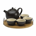 Essence Black Teapot Set with Bamboo Tray