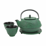Green Bamboo Cast Iron Tea Set