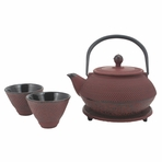 Red Nail Head Cast Iron Tea Set