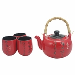 Traditional Asian Red Porcelain Tea Set