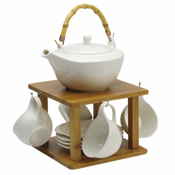 White Angel New Bone China Tea Set with Cup Hanger