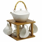 White Angle New Bone China Tea Set with Cup Hanger