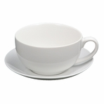 White Ceramic Teacup with Saucer