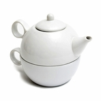 White Teapot with Cup