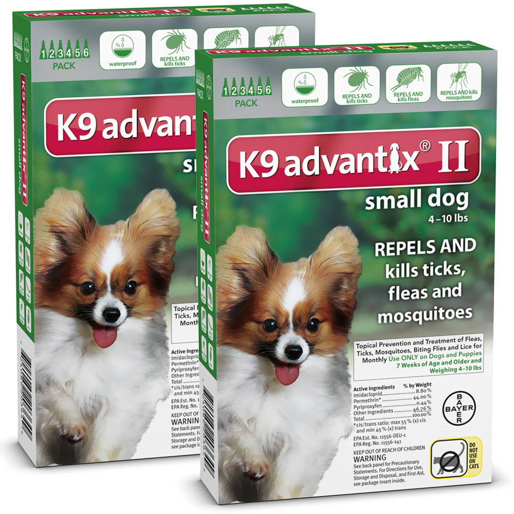 12 MONTH K9 ADVANTIX II GREEN Small Dog (for dogs under 10 lbs.)