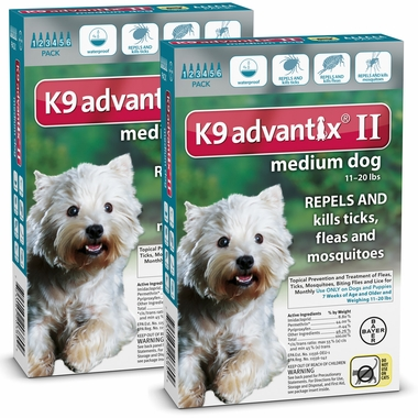 12 MONTH K9 ADVANTIX II TEAL Medium Dog (for dogs 11-20 lbs)