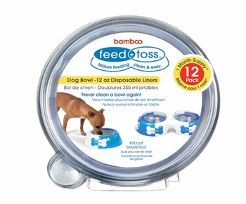 12 PACK Feed + Toss Dog Bowl Disposable Liner for DOGS - 12 oz