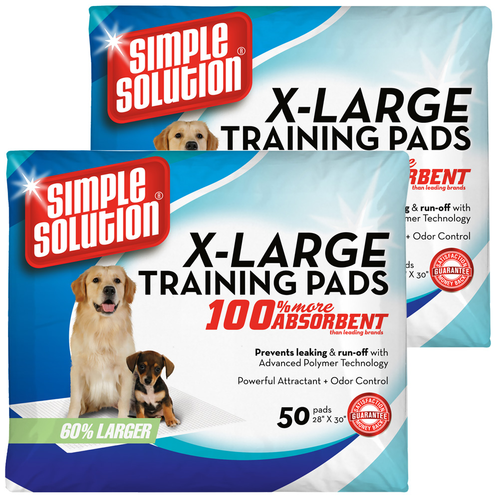 "2-PACK Simple Solution Training Pads - Extra Large (100 Pad Pack 28"" x 30"")"