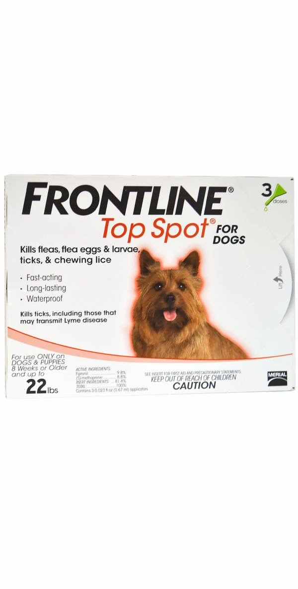 3 MONTH Frontline Top Spot Orange:  For Dogs up to 22 lbs.