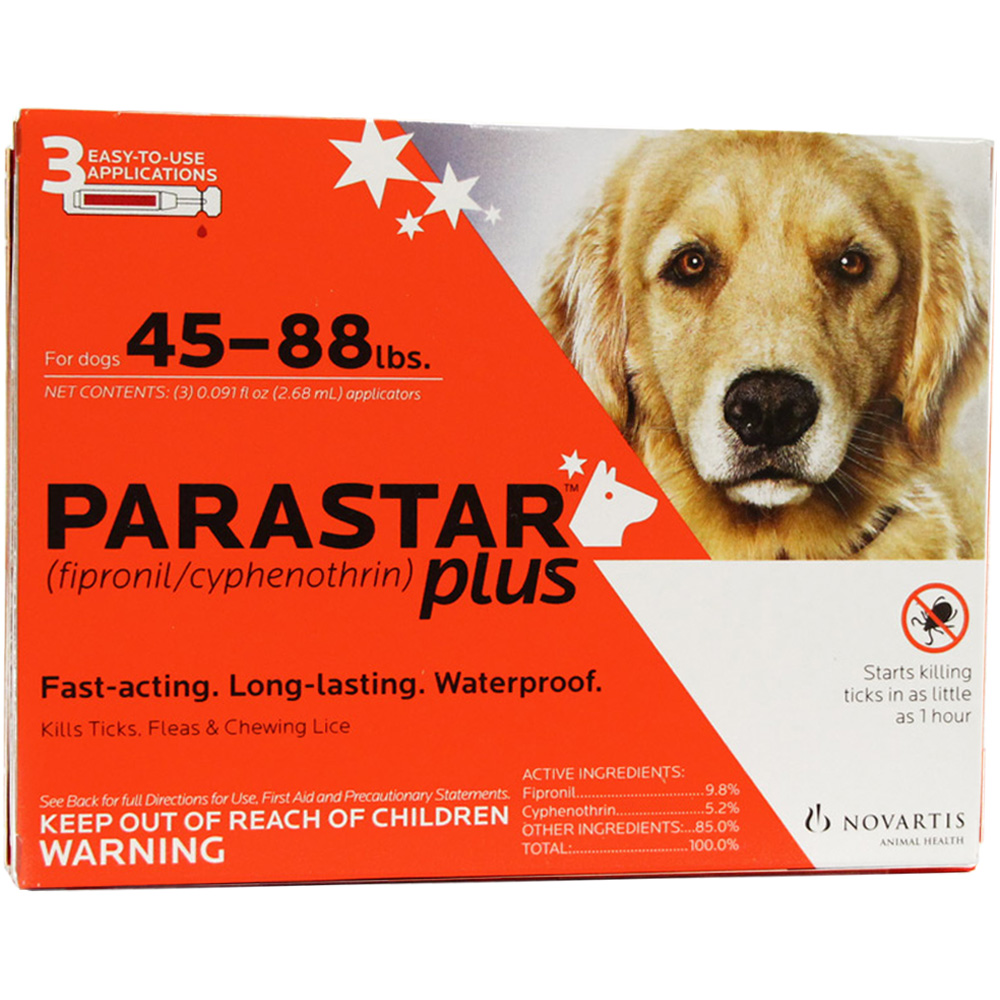 3 MONTH Parastar PLUS for Dogs - Red (45-88 lbs)