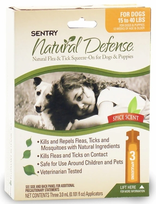 3 Month Sentry Natural Defense Flea & Tick Squeeze-On ORANGE Dog 15-40 lbs
