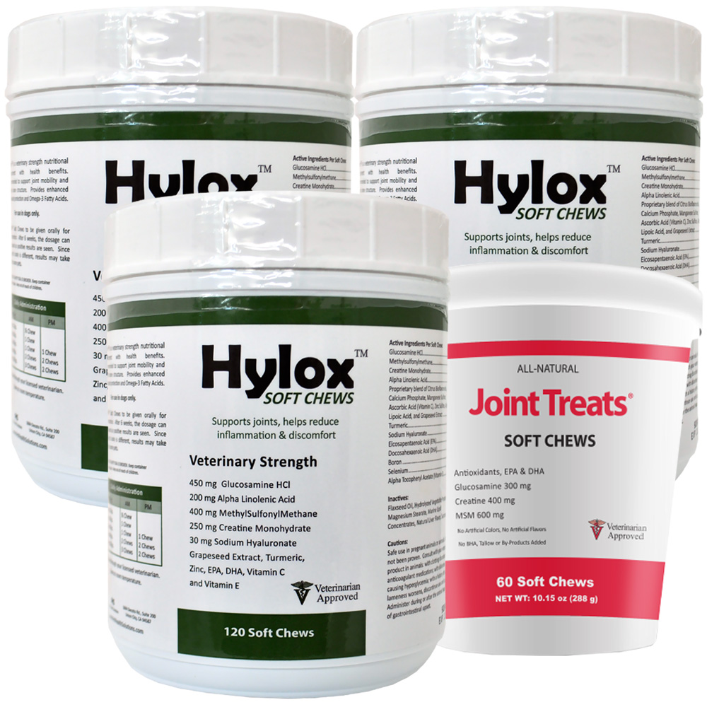 3-PACK Hylox™ Soft Chews (360 Chews) + FREE Joint Treats®