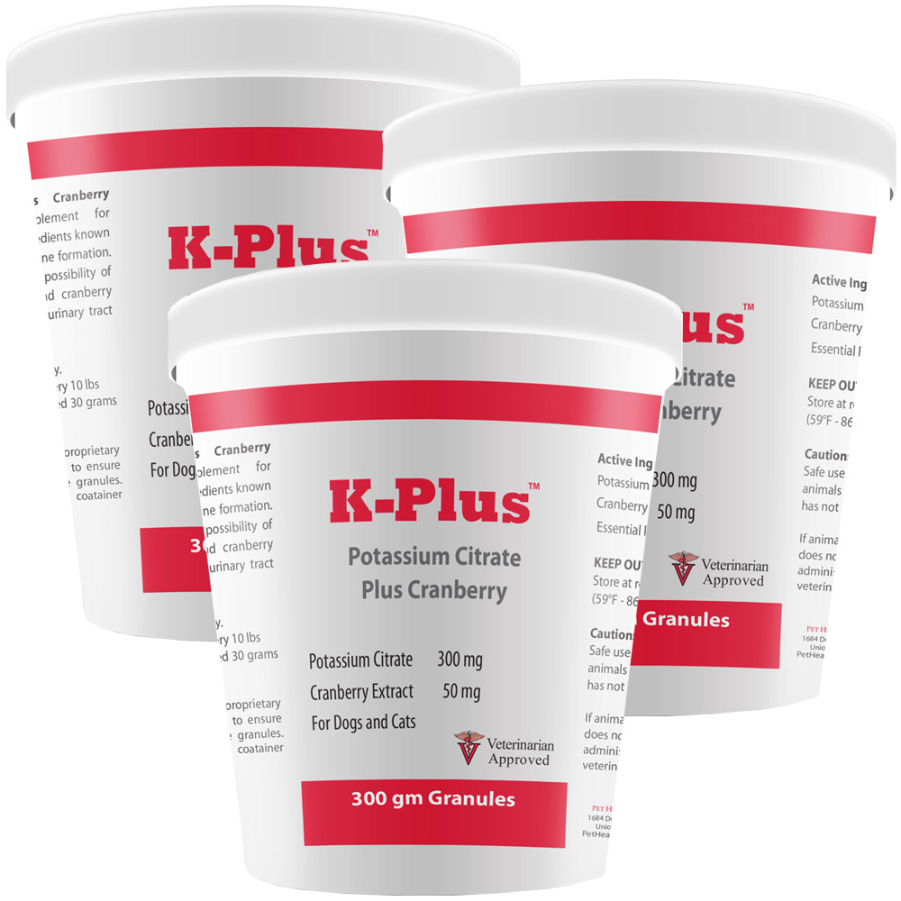 3-PACK K-Plus Potassium Citrate Plus Cranberry Granules (180 Doses)