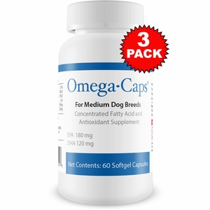 3 Pack Omega-Caps - For MEDIUM Dogs (180 Softgel Capsules)