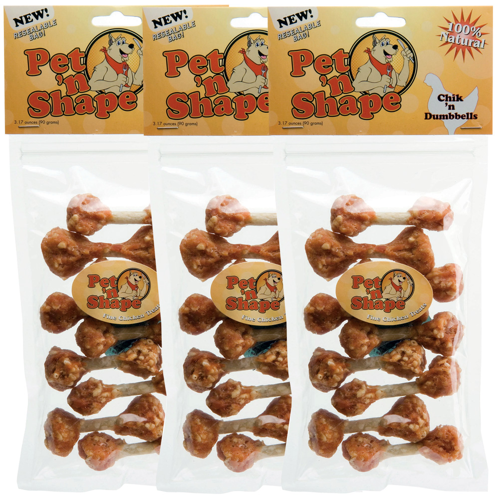 3 Pack Pet 'n Shape Chik 'n Dumbbells -9.51oz