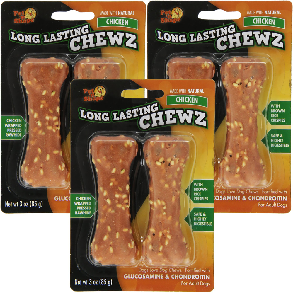 "3 PACK Pet 'N Shape Long Lasting Chewz 4"" Bone (6 Bones)"