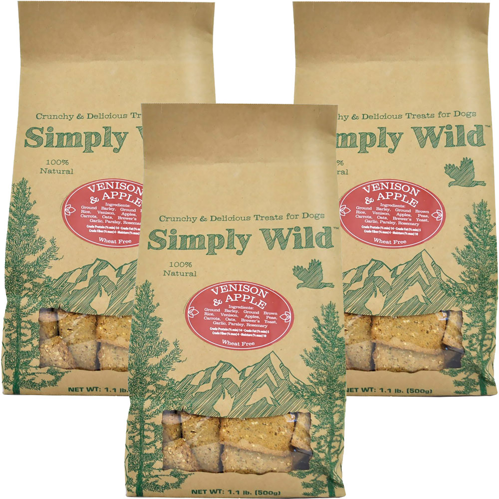 3-PACK Simply Wild Venison & Apple Dog Treats (3.3 lbs)