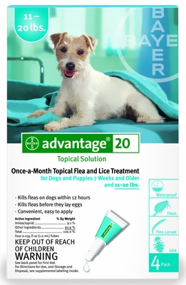 4 MONTH Advantage Flea Control Teal: For Dogs 11-20 lbs.