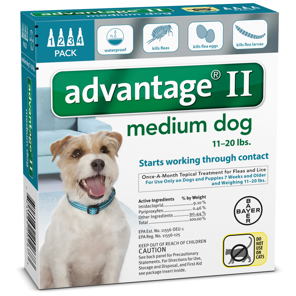 4 MONTH Advantage II Flea Control Medium Dog (for Dogs 11-20 lbs.)