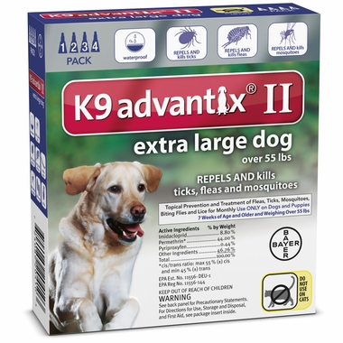 4 MONTH K 9 ADVANTIX II BLUE Extra Large Dog (for dogs over 55 lbs)