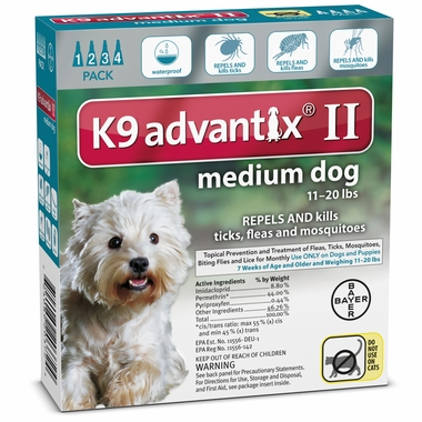 4 MONTH K9 ADVANTIX II TEAL  Medium Dog (for dogs 11-20 lbs)