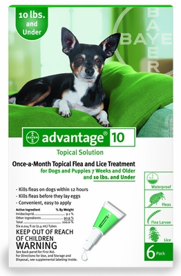 6 MONTH Advantage Flea Control Green: For Dogs under 10 lbs.