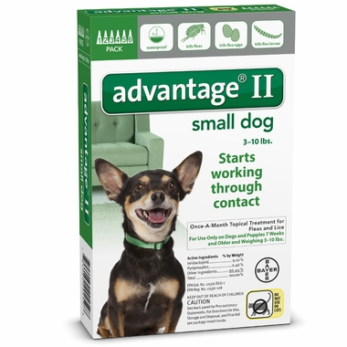 6 MONTH Advantage II Flea Control Small Dog (for Dogs under 10 lbs.)