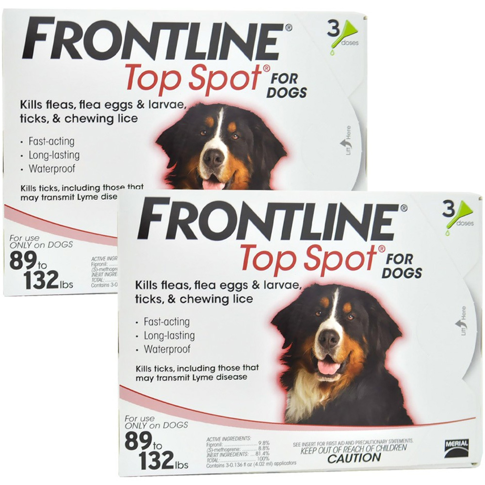 6 MONTH  Frontline Top Spot Red: for Dogs 89-132 lbs.