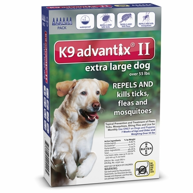 6 MONTH K9 ADVANTIX II BLUE Extra Large Dog (For dogs over 55 lbs)