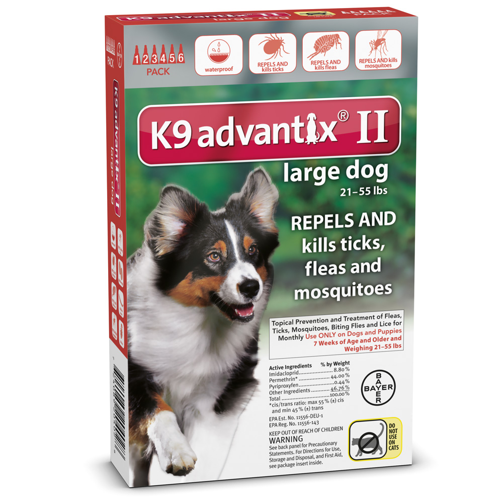 6 MONTH K9 ADVANTIX II RED Large Dog (for dogs 21-55 lbs)