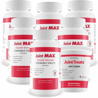 6-PACK Joint MAX Double Strength (1500 Chewable Tablets) + FREE Joint Treats