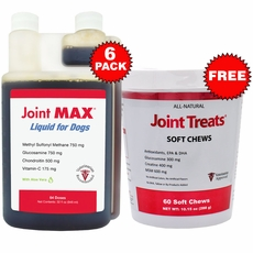 6 PACK Joint MAX Liquid for Dogs (192 fl oz) + FREE Joint Treats
